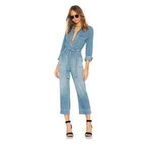 Free People Charlie Coverall Blue Denim Jumpsuit
